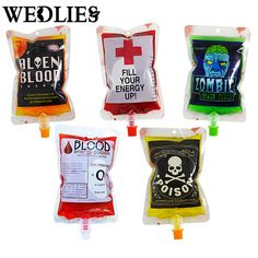 250ml Blood Energy Drink Beverage Bag Vampires Aliens Blood Bag Cosplay Party Events Decoration Supplies Halloween Pouch Props #Affiliate