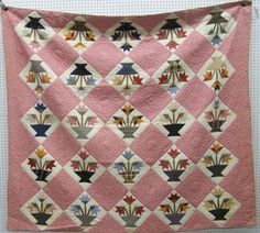 Handmade Antique Quilt Lilies & Basket Pattern Circa 1910 GC w/ Provenance, eBay, patriciaquiltsandmore