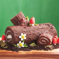 Woodland Cake. Roulade cake with chocolate frosting and creme filling.