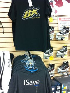 A couple shirts from Brian's Custom Sports & Bauer Hockey