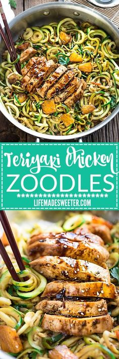 One Pot Teriyaki Chicken Zoodles + Video! One Pot Teriyaki Chicken Zoodles {Zucchini Noodles} make the perfect easy low carb weeknight meal! Best of all so much better than takeout - only 30 minutes to make with just one pan to clean! Paleo Recipes, Low Carb Recipes, Cooking Recipes, Hamburger Recipes, Vegan Zoodle Recipes, Cooking Tips, Tapas Recipes, Cooking Steak, Cooking Bacon