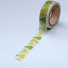 Washi Tape blanco con peras
