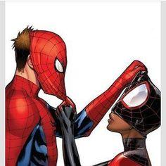 Interracial couple illustration ~ Spiderman style! #love #wmbw #bwwm