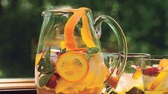 Cava Sangria Recipe | Bon Appetit  1) Chill fruit with liqueurs for at least 24 hours.   2) Can use any sparkling wine. 3) The batch will make enough fruit for 3-4 bottles.