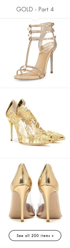 GOLD - Part 4 by marty-97 on Polyvore featuring polyvore, women's fashion, shoes, sandals, heels, sapatos, beige, leather t strap sandals, leather shoes, beige sandals, t-strap shoes, beige heeled sandals, pumps, high heels, gold, gold heel pumps, gold shoes, gold high heel shoes, gold pumps, see-through shoes, leather pumps, metallic shoes, metallic gold shoes, lucite pumps, clothing, skirts, bottoms, valentino, saias, layered skirt, knee length pleated skirt, embroidered skirt, beige…