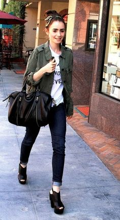Lily Collins style  Love this look... It's inspired by old and raggedy but I still luvvvv it
