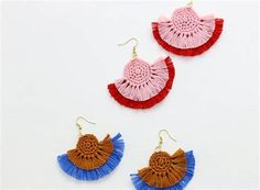 DIY Fringe Statement Earrings - Crochet Earrings Pattern - Persia Lou Want some new colorful statement earrings? You can make these awesome crochet earrings easily at home with this free crochet pattern.
