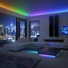 Brighten up your entire home with these awesome color changing LED light strips! These LED light strips are perfect to add some color and light to your home! Make any room look stylish instantly. Bedroom Lighting, Home Lighting, Outdoor Lighting, Lighting Design, Lighting Ideas, Kitchen Lighting, Cabinet Lighting, Bedroom Ceiling, Led Bedroom Lights