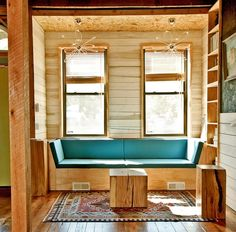 wood paneled nook - similar to what I'd like to build next to the balcony in the dining room. But white-washed wood.