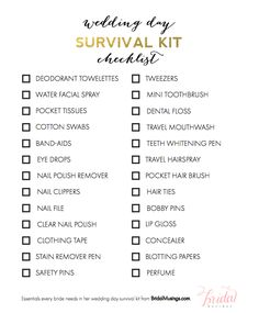 A Roundup Of All The Items For Wedding Day Survival Kit That Will Keep