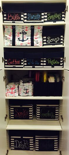 Pantry Finished Thirty-One Style! I absolutely love it! 4 Your Way Cubes, 7 Your Way Rectangles, 1 Medium Utility Tote, 3 Lil's Carry All Caddies, 2 Creative Caddies, 1 Fold N File and 2 Double Duty Caddies!