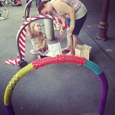 """@yarncorner #yarncorner #bikerack #yarnbomb #yarnbombing #lygonstreet #carlton #melbourne"""