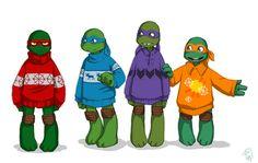 TMNT_Sweaters by HearteaterC.deviantart.com on @deviantART Lookit them in their little sweaters *flaps hands*