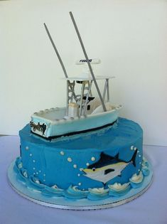 Fishing boat birthday cake Cakes Pinterest Boat cake Fishing