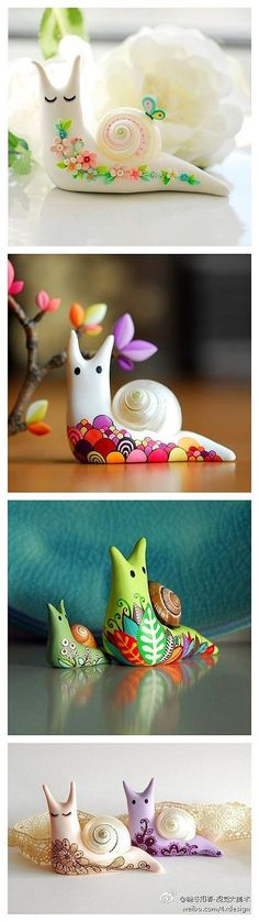 Tajvidi Gorgeous snails using air-dry clay/model magic. I really want to make these beauties! polymer clayGorgeous snails using air-dry clay/model magic. I really want to make these beauties! Fimo Clay, Polymer Clay Projects, Polymer Clay Creations, Polymer Clay Crafts, Crafts For Kids, Arts And Crafts, Creation Deco, Paperclay, Air Dry Clay