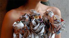 paper roses, inhabitots, mothers day, newspaper roses, flower alternative