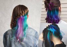 Under Hair Color, Hidden Hair Color, Easy Hairstyles For Kids, Creative Hairstyles, Cool Hairstyles, Peekaboo Hair, Pelo Multicolor, Underlights Hair, Beautiful Hair Color