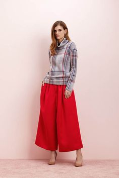 Rhié AW15 Plaid Knit Turtleneck with Red Wid Cropped Pant.   #Fashion #Lookbook #Style.com
