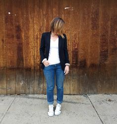 Winter Remix- 10 Days, 10 Outfits: Outfit 9 (Smart Casual): white tee+straight leg jeans+white sneakers+black blazer.  Style This Life. Winter Mini Capsule Wardrobe 2017