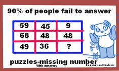 """Free on line practice of puzzles with solutions,for all competitive exams' Improve your math skills to solve math puzzles and manage questions """"Find the missing number"""" Missing Number, Maths Puzzles, Good Grades, Math Skills, Periodic Table, Improve Yourself, Numbers, This Or That Questions, Free"""