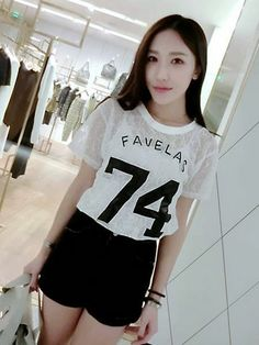 awesome Loose letters perspective lace short sleeve T-shirt -