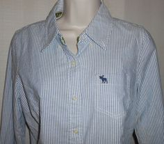 AMBERCROMBIE & FITCH Shirt Button Up Women Size L Long Sleeve Blue White Stripe #AbercrombieFitch #ButtonDownShirt #Casual