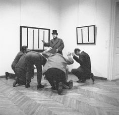 Members of Gorgona attend the opening of Julije Knifer's exhibition at the Museum of Contemporary Art, Zagreb, 1966