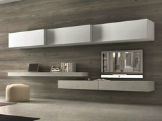 Sectional wall-mounted TV wall system