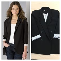 Boyfriend blazer Double breasted with 2 pockets and white with black stripe lining. Boyfriend fit, 26 inches long.  63 poly, 34 rayon, 3 spandex. Excellent used condition. Aqua Jackets & Coats Blazers