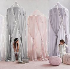 RH baby&child's Cotton Voile Play Canopy:A little imagination goes a lot further when it& accompanied by our hanging canopy, which transforms any nook into an enchanted enclosure just perfect for play. Baby Bed Canopy, Canopy Bed Curtains, Girls Bedroom Canopy, Canopy Tent, Curtain Room, Canopies, Girls Bed Tent, Curtain Over Bed, Canopy Over Bed