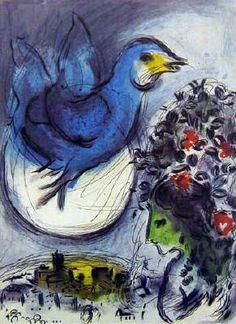 Marc Chagall, blauer Vogel über dem Mond
