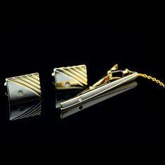 Diamond Tie Clip Cufflinks Suit Lapel Mens Wedding Gift Cuff Link Set GD