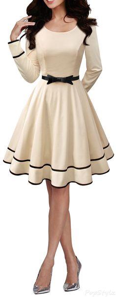 Long Sleeve Prom Dress,Bowknot Prom Dress,A Line Prom