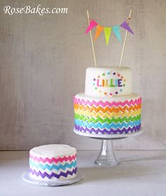 chevron rainbow birthday cake..and it already has her name....A sign? lol