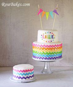 chevron rainbow birthday cake