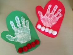 Simple Mitten Craft for Kids. Holiday Handprint & Footprint Crafts : The Chirping Moms