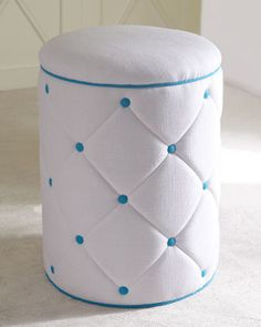"Blue ""Elise"" Ottoman by Lilly Pulitzer Home at Horchow."