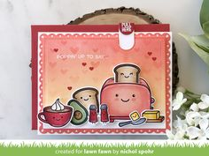 Today I'm sharing an interactive slider card with the brand new Lawn Fawn Let's Toast Stamp Set and coordinating Let's Toast Pull Tab Add On. These amazing new products make creating pop up toast (or pop. Lawn Fawn Blog, Slider Cards, Lawn Fawn Stamps, Interactive Cards, Card Tutorials, Kids Cards, Greeting Cards Handmade, Homemade Cards, Cardmaking