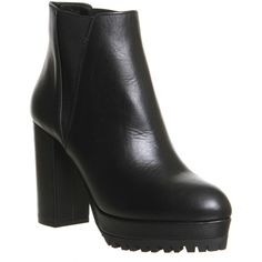 Office Frontier Platform Tread Heel Boots ($47) ❤ liked on Polyvore featuring shoes, boots, ankle booties, ankle boots, black leather, women, faux leather booties, high heel ankle boots, black ankle boots and black platform booties