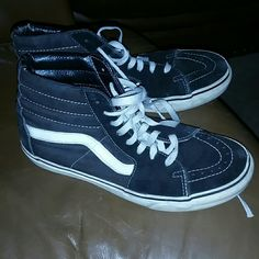 Old school hi tops In good condition definitely used and has obvious wear but have a lot of life left! Women's 9.5 Vans Shoes Sneakers