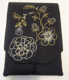 Kindle Fire cover with machine embroidery also fits Kobo Arc