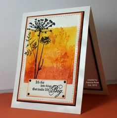 bright and beautiful card made with the acrylic block technique...luv how th black pops out against the gorgeous yellow and orange background...