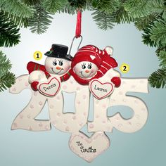 PersonalizedFree.com - 2015 Snow Couple with Hearts Personalized Christmas Ornament, $12.99 (http://personalizedfree.com/2015-snow-couple-with-hearts/)