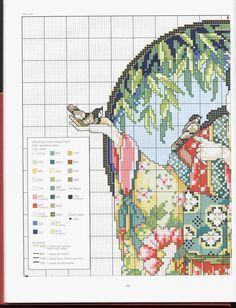 Billedresultat for cross stitch pattern oriental Cross Stitch Fairy, Cross Stitch Angels, Just Cross Stitch, Cross Stitch Flowers, Cross Stitch Charts, Cross Stitch Patterns, Diy Embroidery, Cross Stitch Embroidery, Crochet Cross