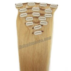 26 Inch #27 Strawberry Blonde Clip In Human Hair Extensions 11pcs #hairplusbase #hair