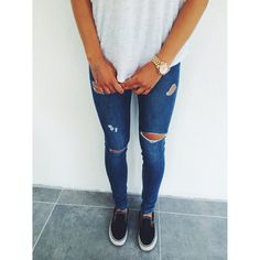 jeans ripped slip on shoes t-shirt