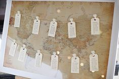 World map themed wedding table plan