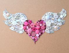 Winged Heart Flying Heart Buttons & Swarovski Rhinestones Wall Art. via Etsy.