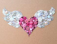 Winged Heart Flying Heart Buttons & Swarovski Rhinestones Wall Art. via Etsy.