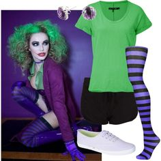 A fashion look from October 2013 featuring cotton t shirt, drawstring shorts and purple stockings. Browse and shop related looks.